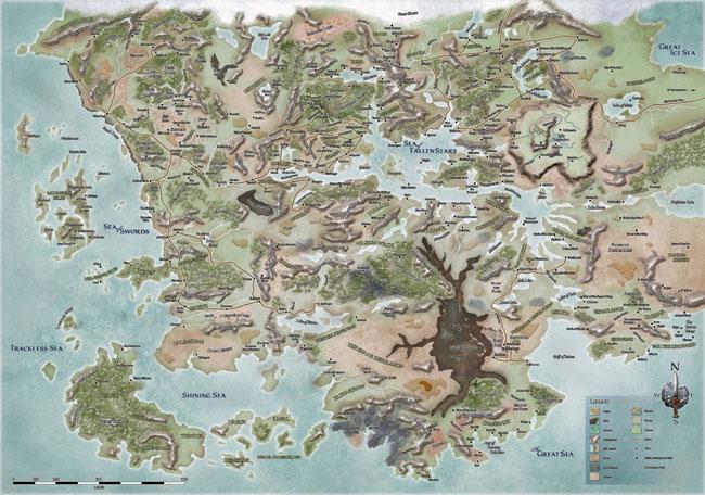 Карта Фаеруна после Магической Чумы в год Голубого Огня.